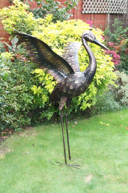 Large Bronze Crane Wings Up Garden Metal Statue Lawn Ornament